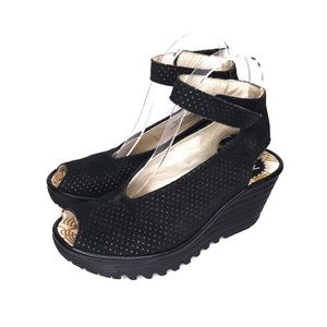 Fly London Yala Wedge Sandals Leather Platforms 37